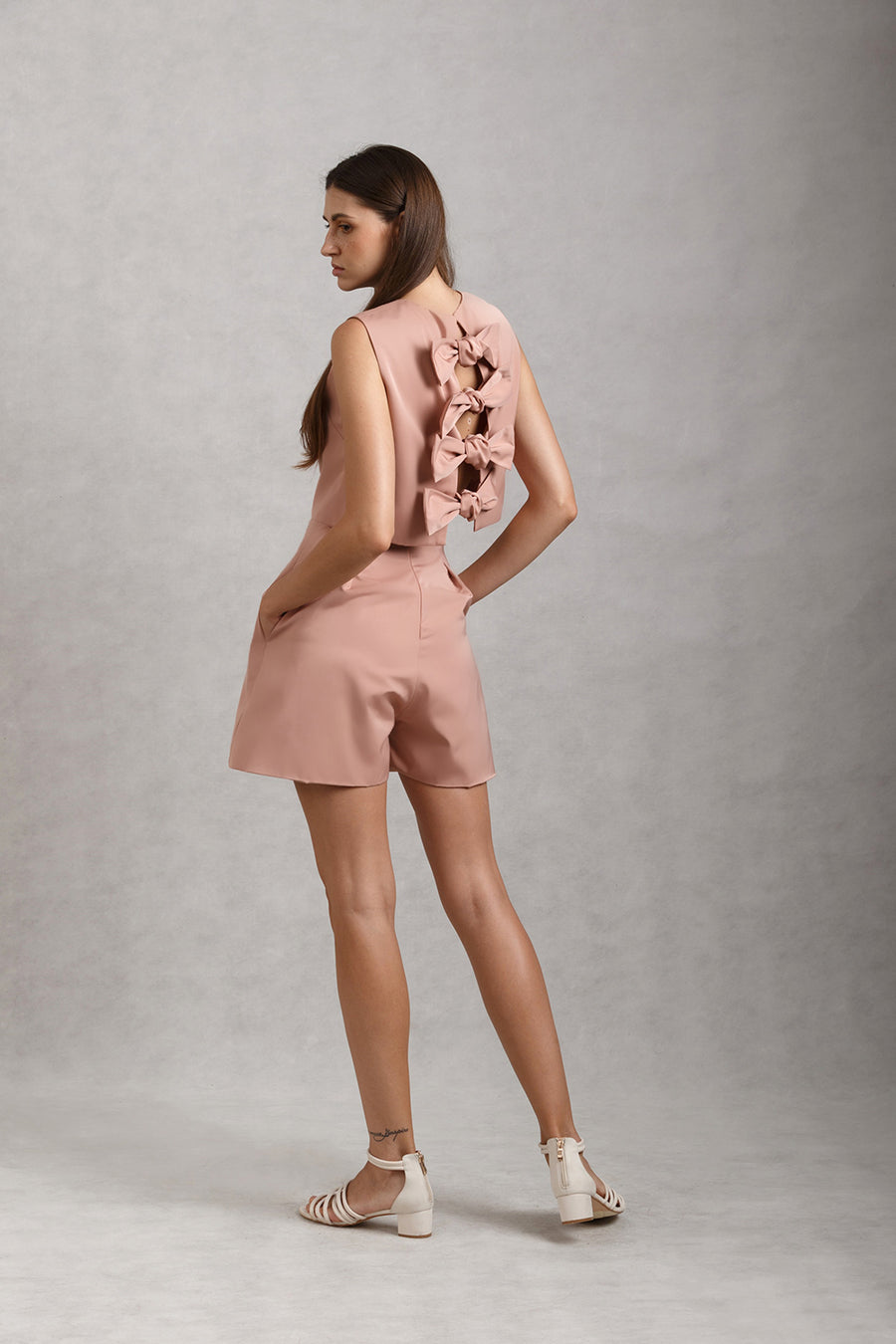Bow Back Crop Top & High Waist Pleated Flare Shorts Set | Nude