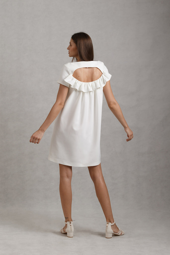 Keyhole Ruffled Back Mini | White