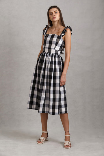 Handwoven Gingham Tie Back Ruffled Midi