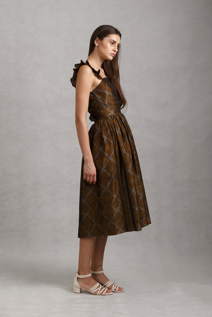 Handwoven Metallic Tie Back Ruffled Midi