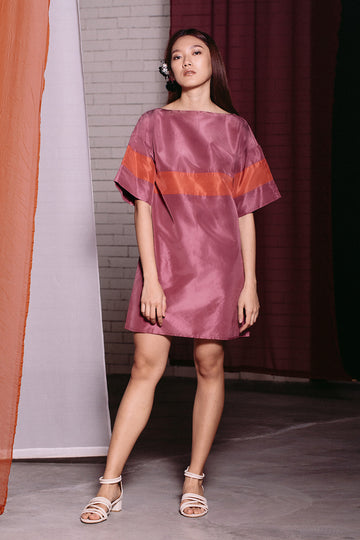 Oversized Silk Embroidered Mini | Purple