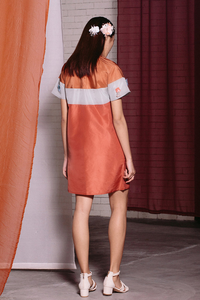 Gathered Neck Silk Mini | Orange