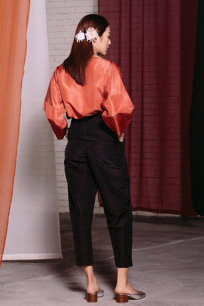Oversized Off Shoulder Silk Top | Orange