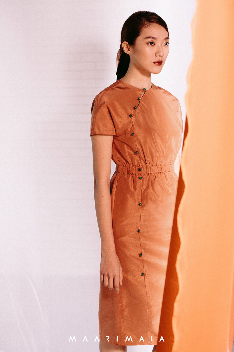 Crew Neck Silk Modern Qipao | Orange
