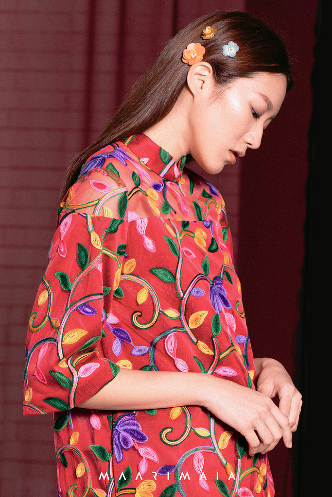 Embroidered Shift Qipao | Red