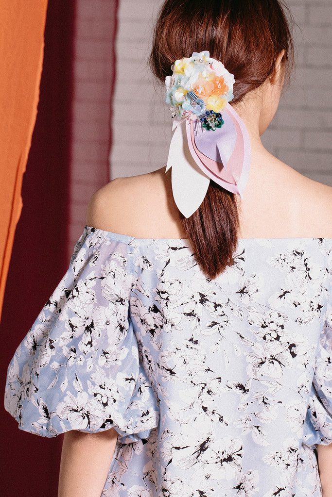 Off Shoulder Balloon Sleeve Mini | Blue