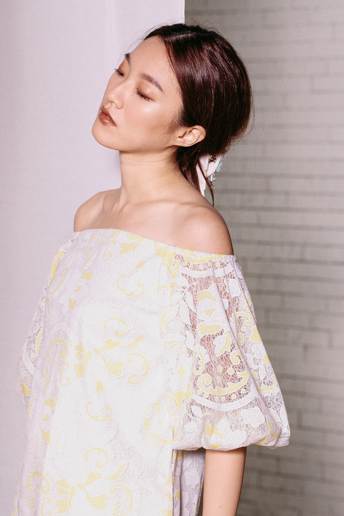 Off Shoulder Balloon Sleeve Mini | Yellow