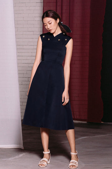 Cross Neck Midi | Navy