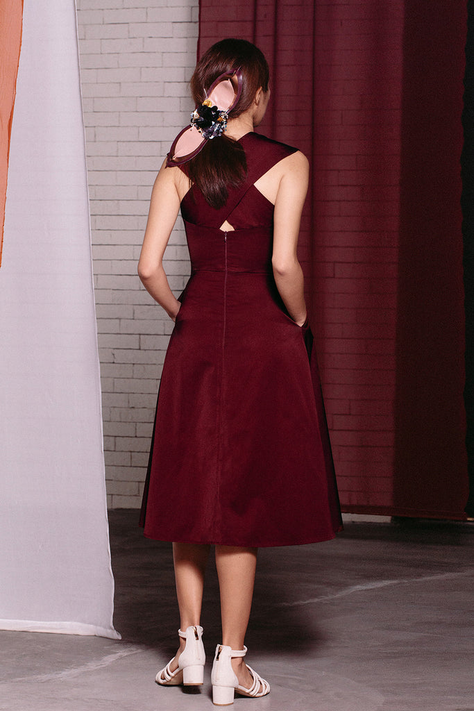 Cross Neck Midi | Maroon