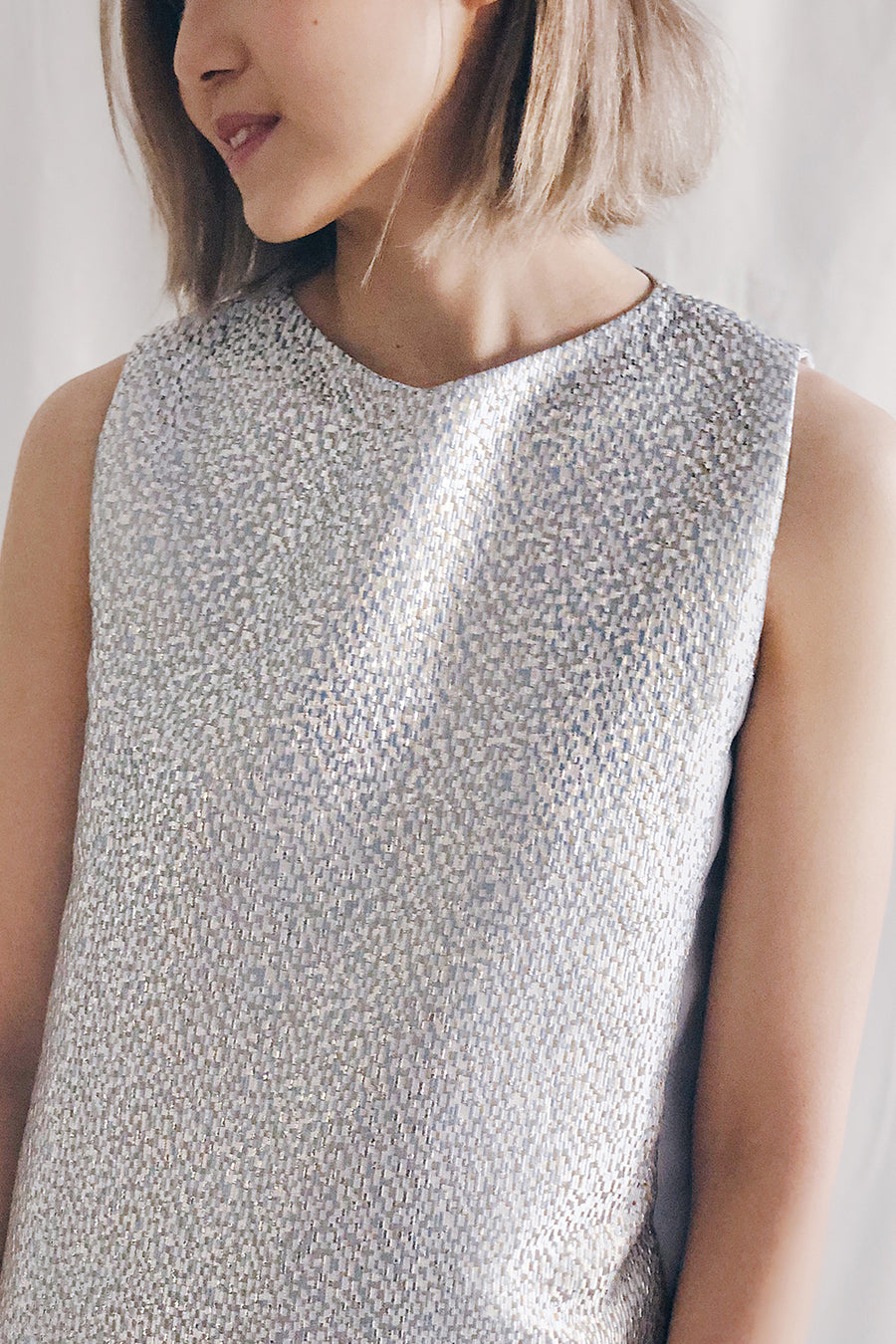 Metallic Panel Midi Dress | Silver