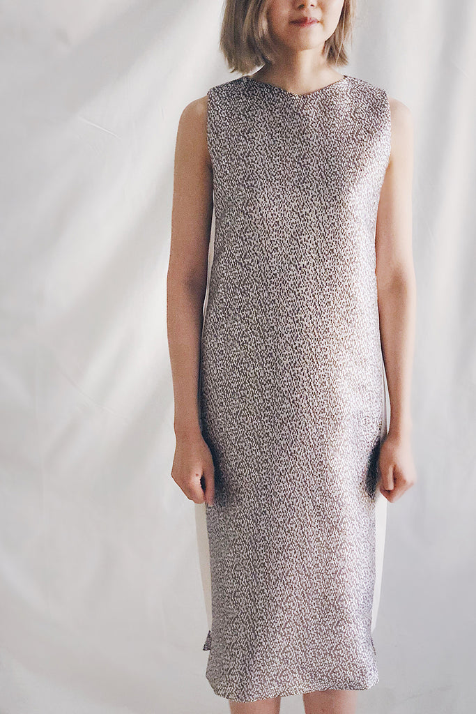 Metallic Panel Midi Dress | Bronze