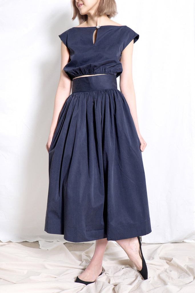 Elastic Crop Top and High Waist Gathered Skirt Set | Navy