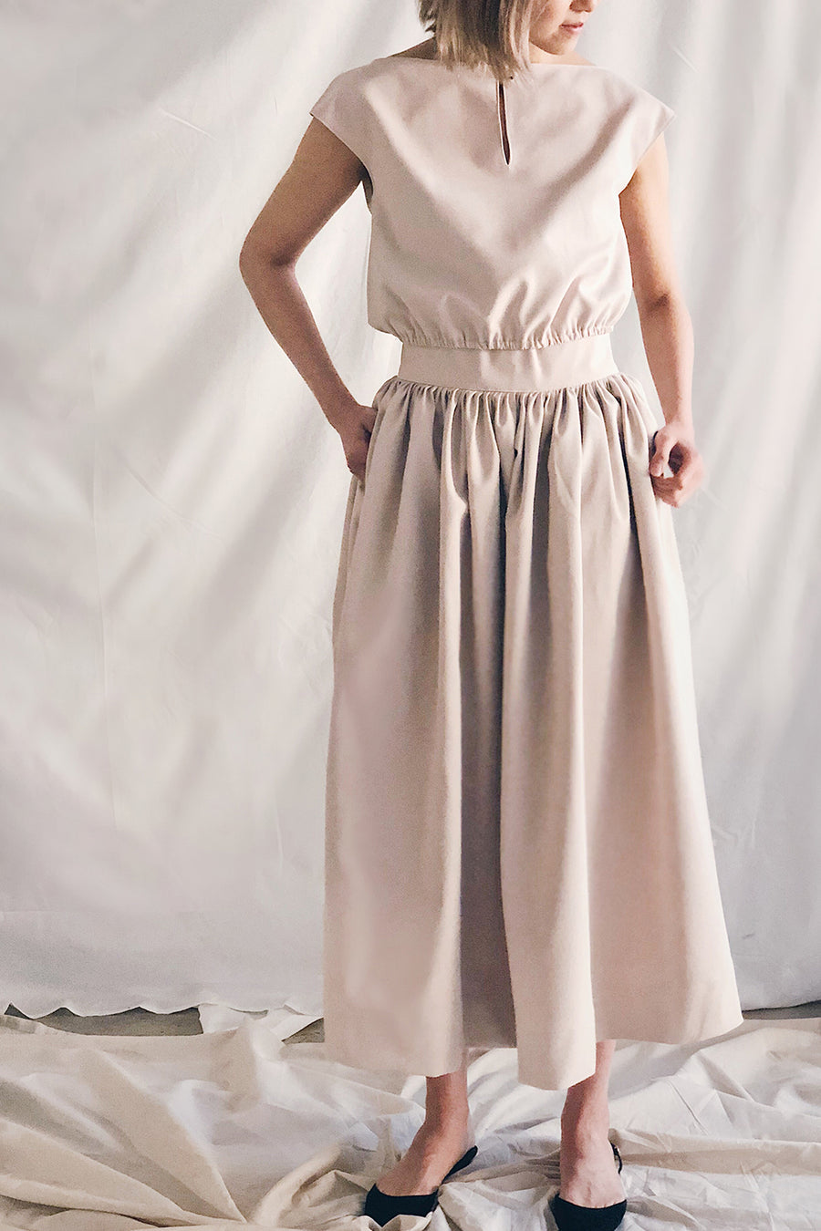 Elastic Crop Top and High Waist Gathered Skirt Set | Beige