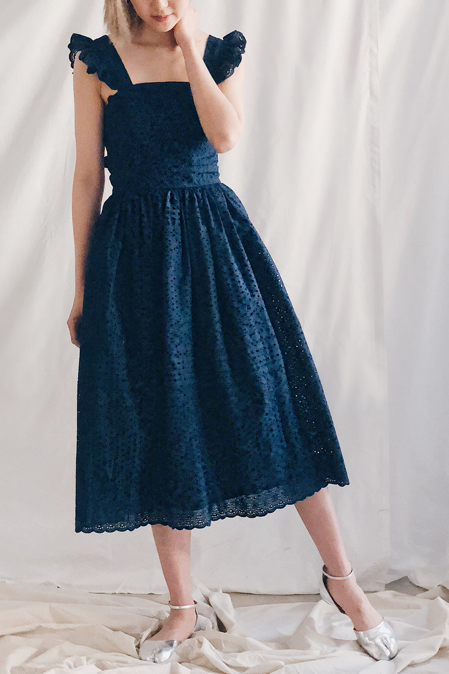 Scallop Tie Back Ruffled Midi | Navy