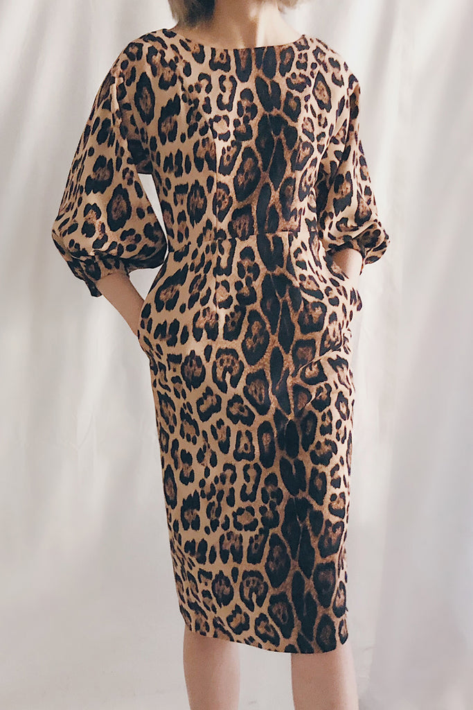 Balloon Sleeve Boat Neck Midi Dress | Leopard