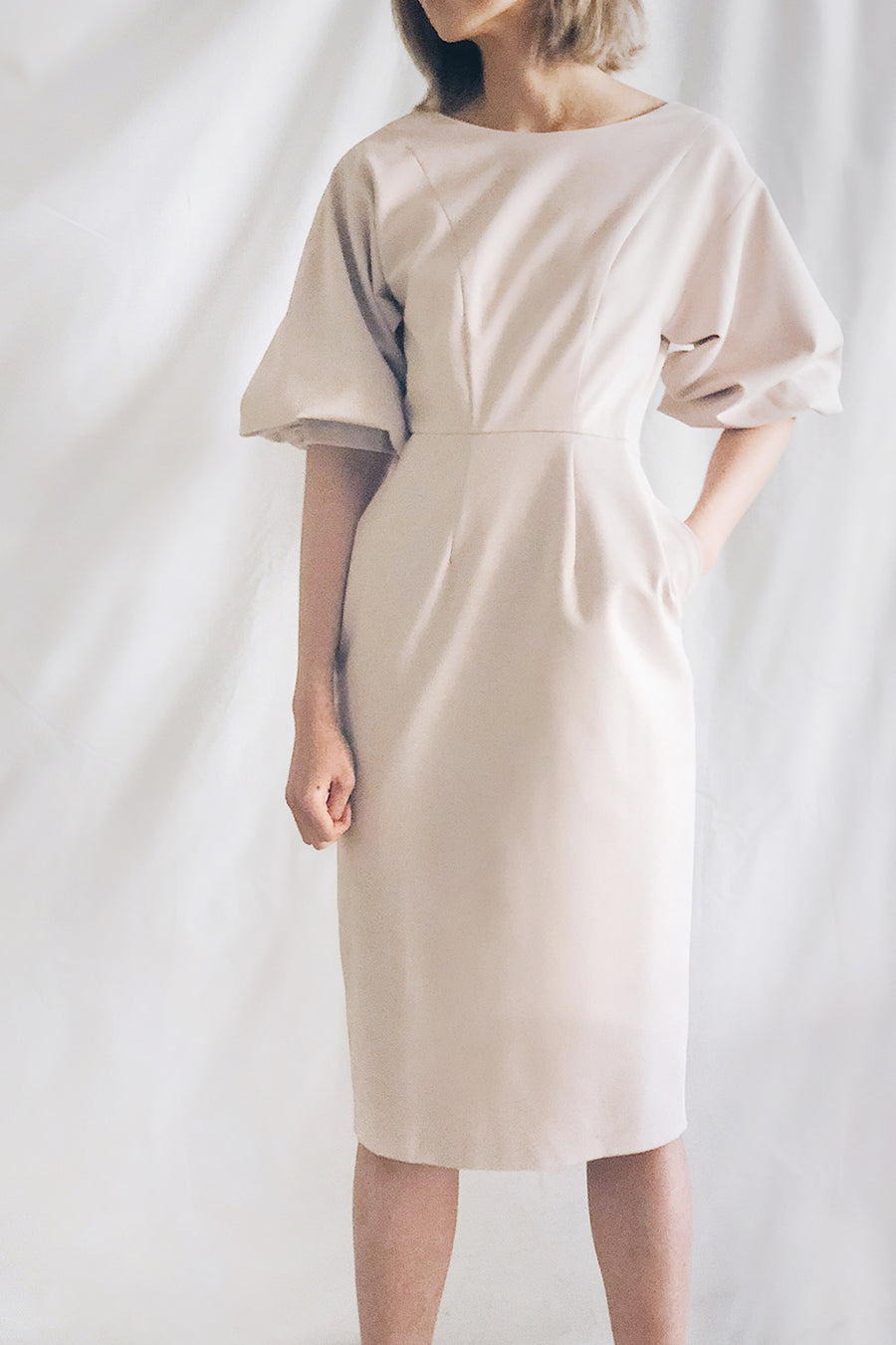 Balloon Sleeve Boat Neck Midi Dress | Beige