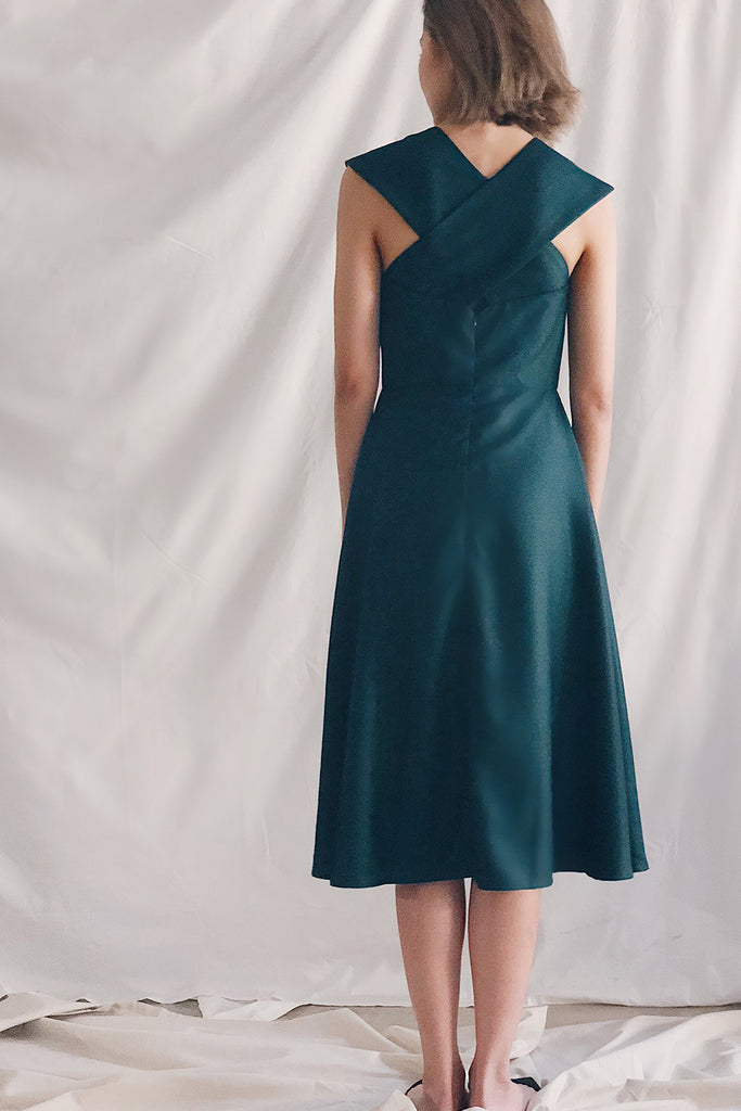 Cross Neck Midi | Green