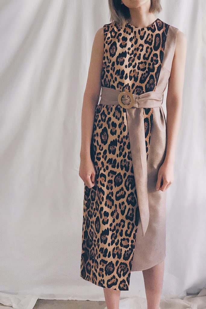 Belted Panel Midi | Leopard