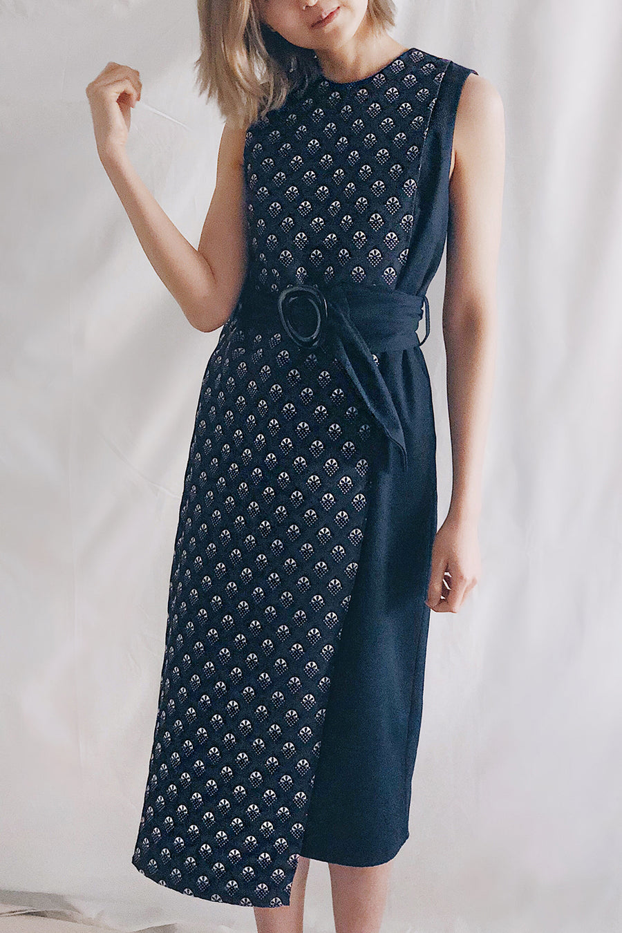 Belted Panel Midi | Navy