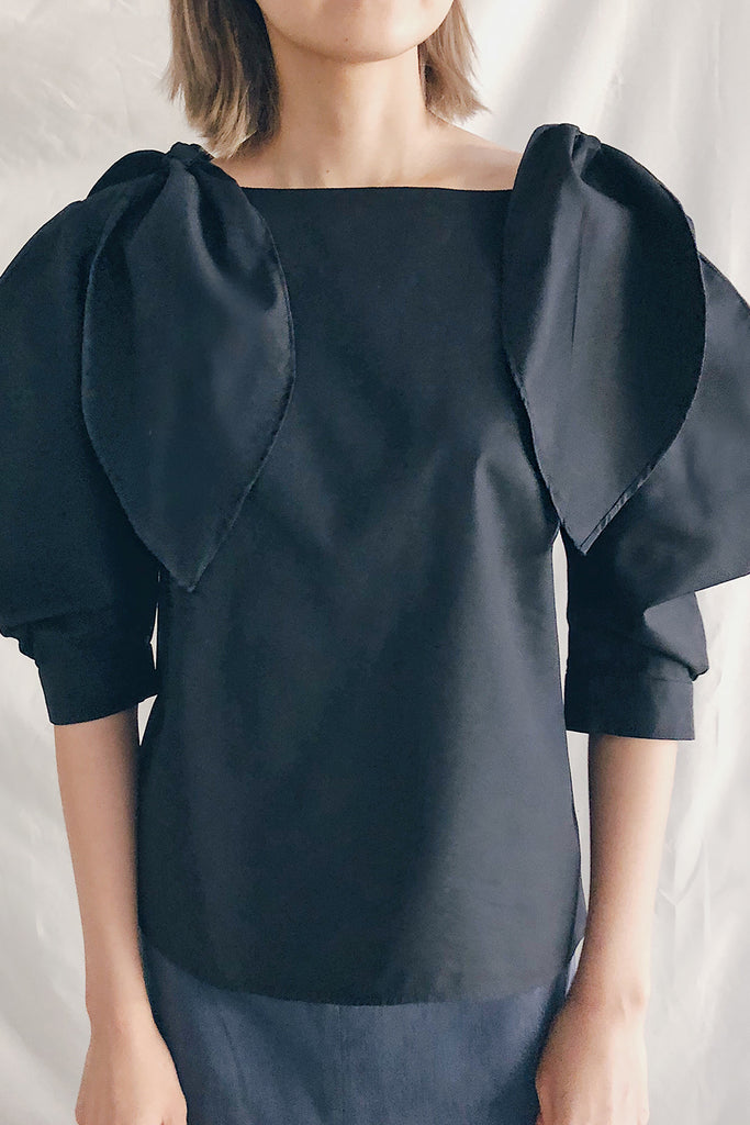 Tie Shoulder Scoop Neck Blouse | Black