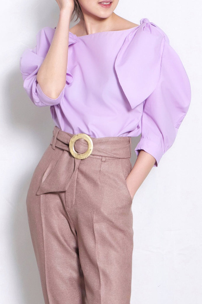 Tie Shoulder Scoop Neck Blouse | Lilac