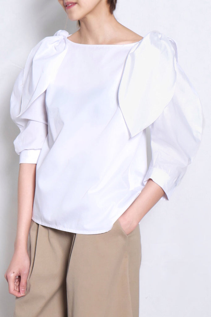 Tie Shoulder Scoop Neck Blouse | White