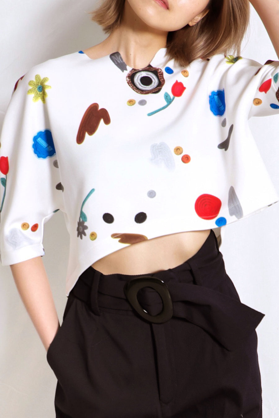 Kitschy Neoprene Crop Top | White