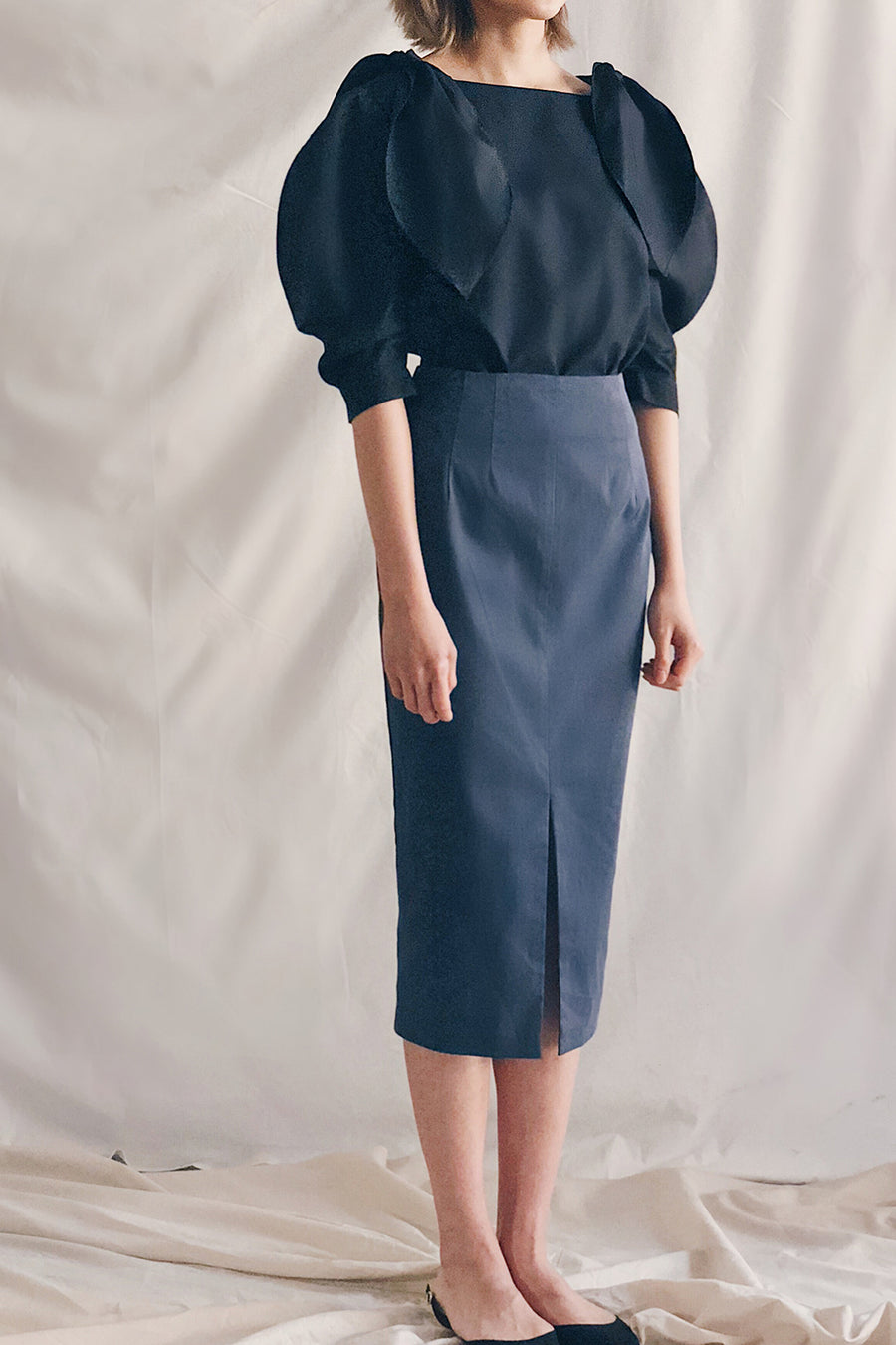 Front Slit Pencil Midi Skirt | Navy