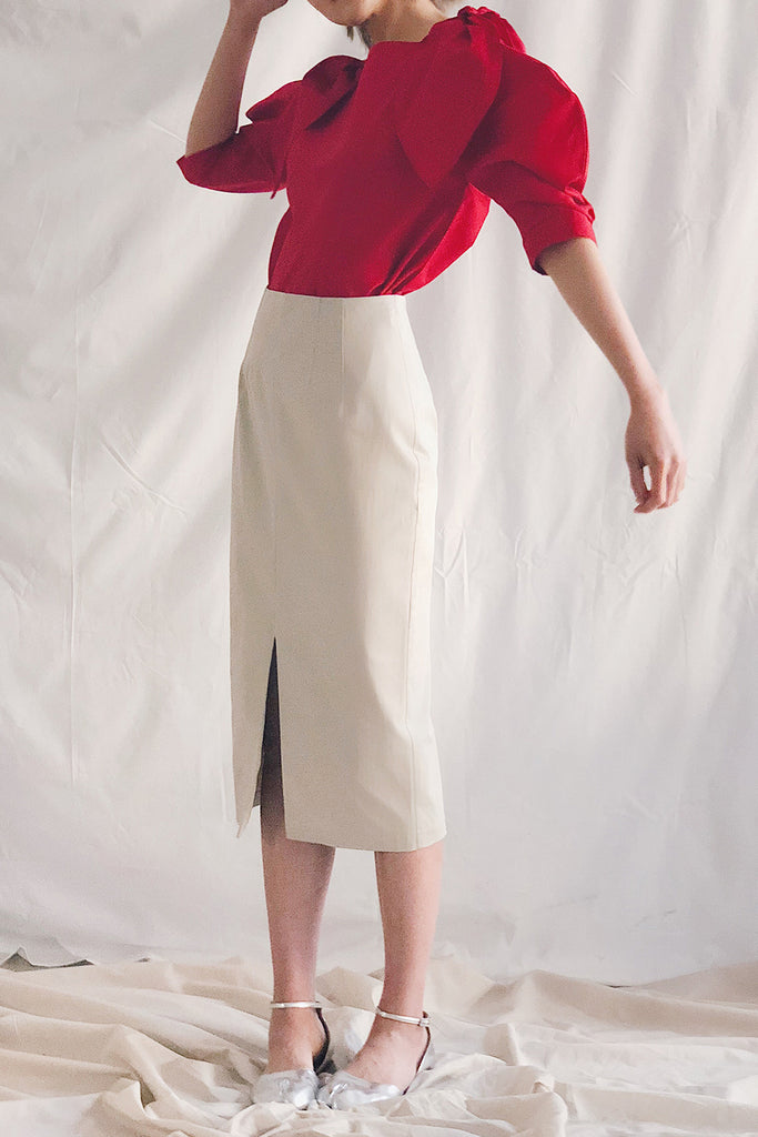 Front Slit Pencil Midi Skirt | Beige