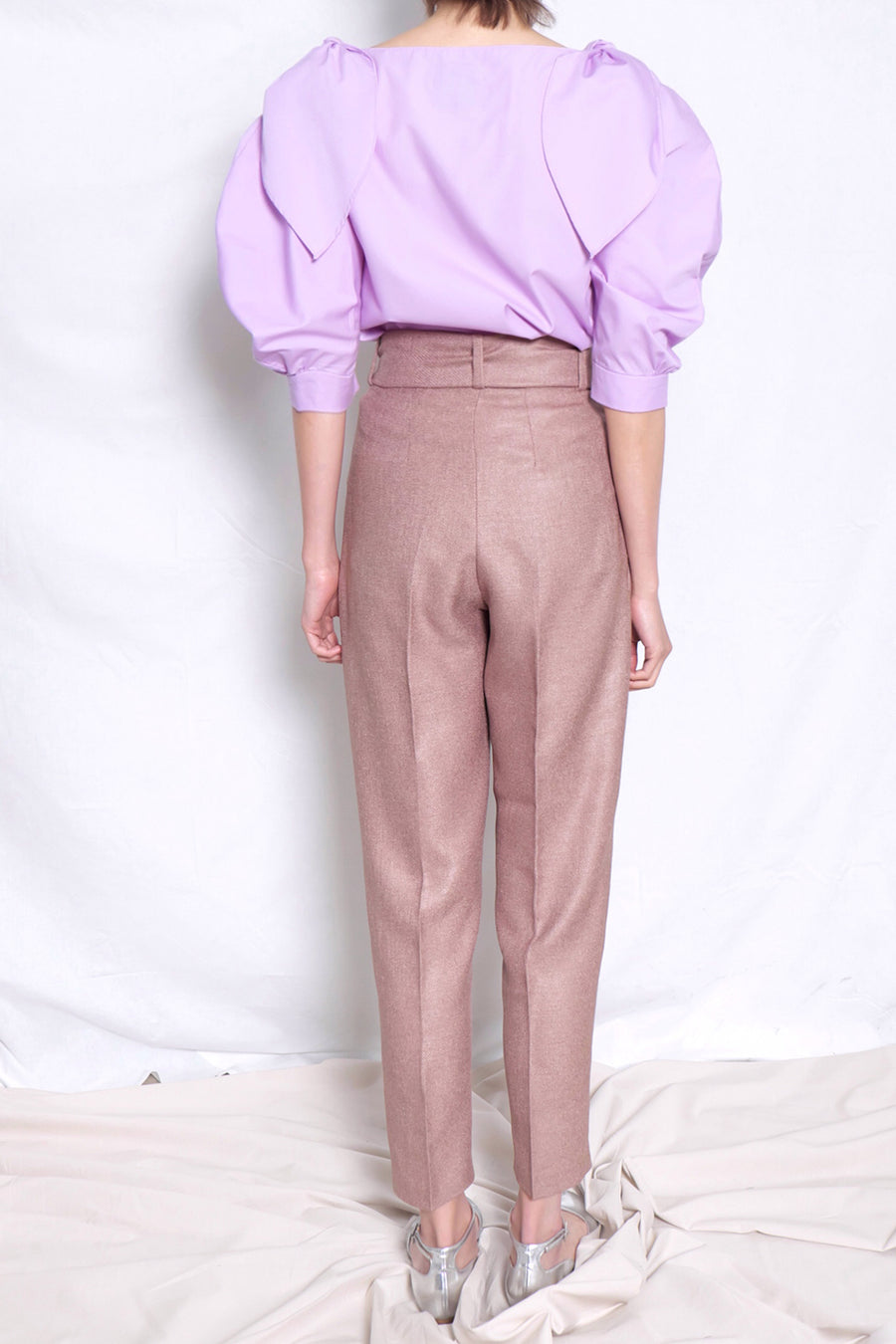 High Waist Belted Cigarette Pants | Brown
