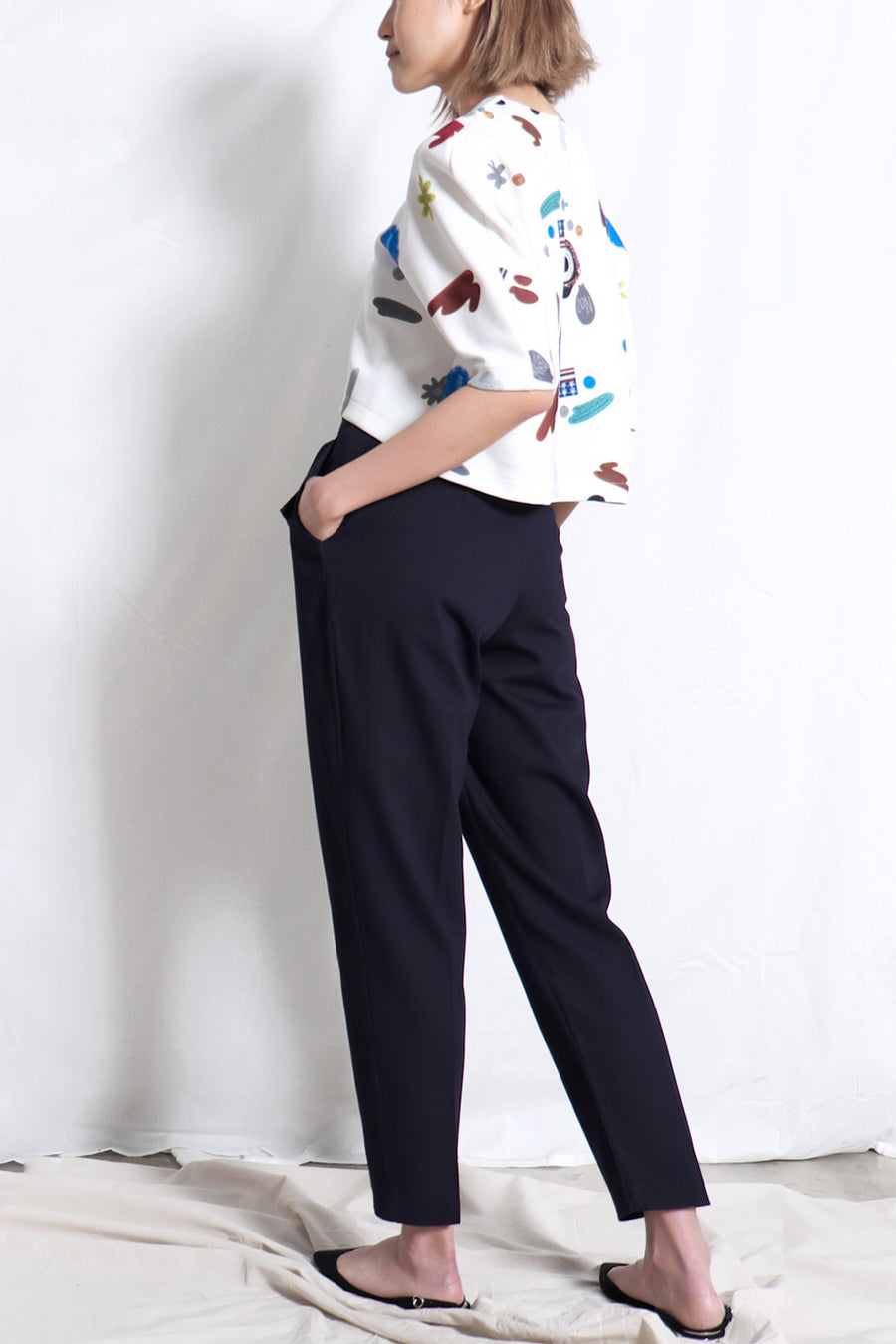 High Waist Belted Cigarette Pants | Navy