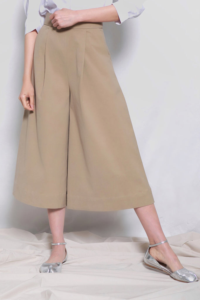 High Waist Wide Leg Culottes | Khaki