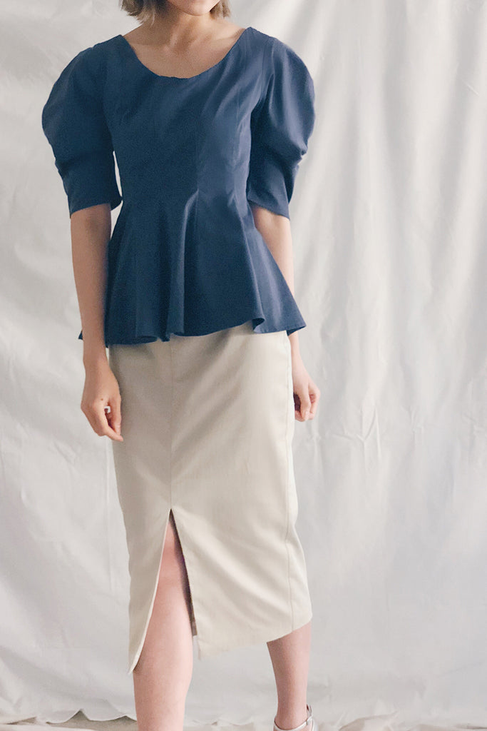 Scoop Neck Peplum Blouse | Navy