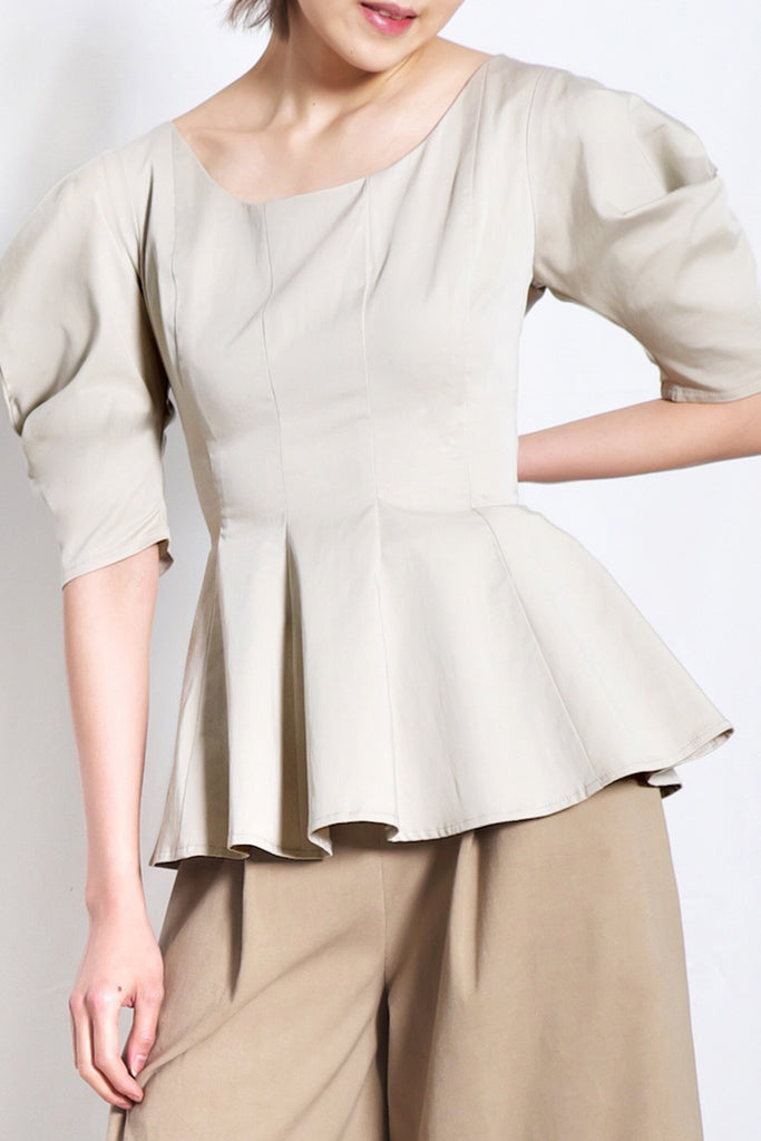 Scoop Neck Peplum Blouse | Beige