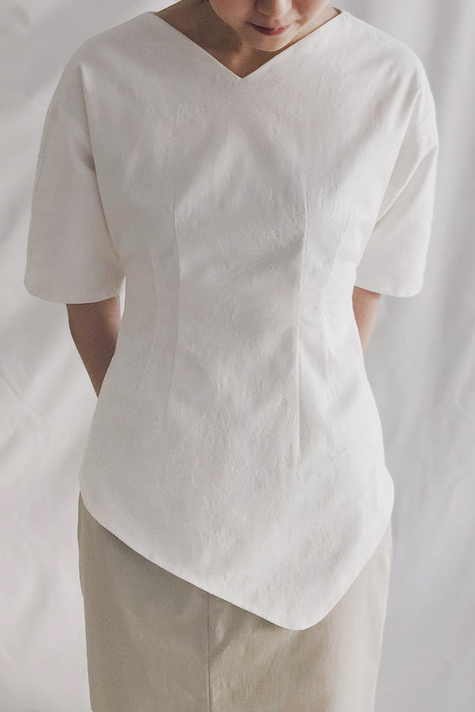 Batwing Asymmetrical Hem Top | White