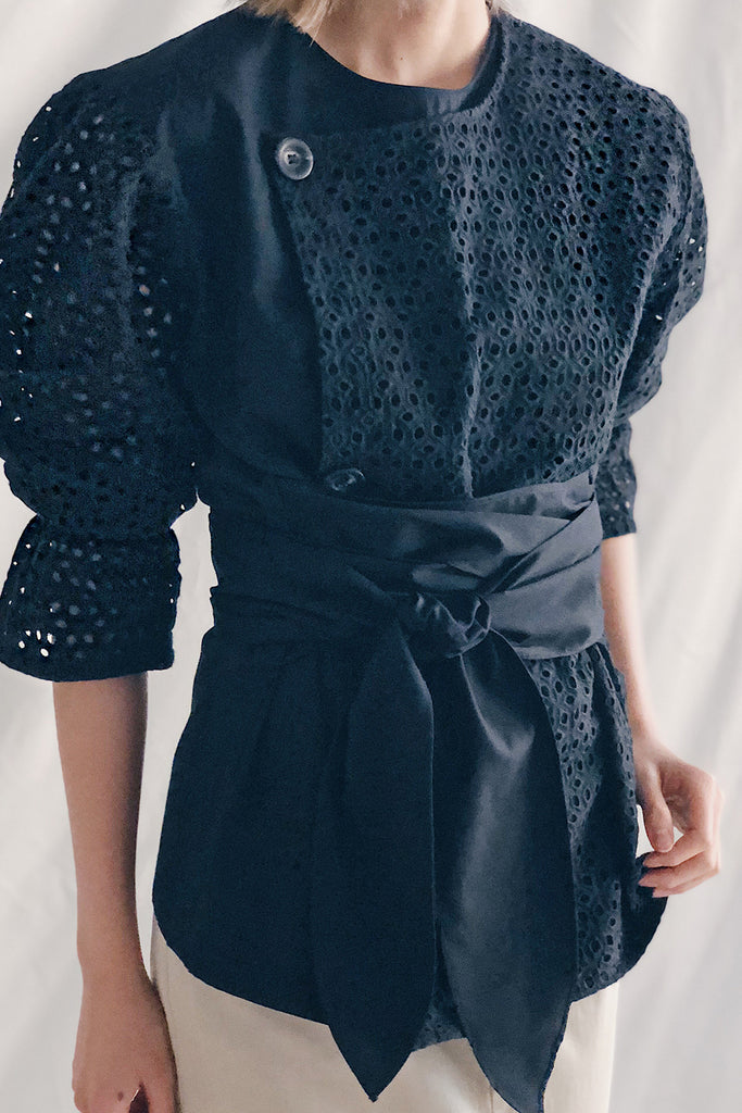 Eyelet Puff Sleeve Tie Waist Button Trench Top | Black
