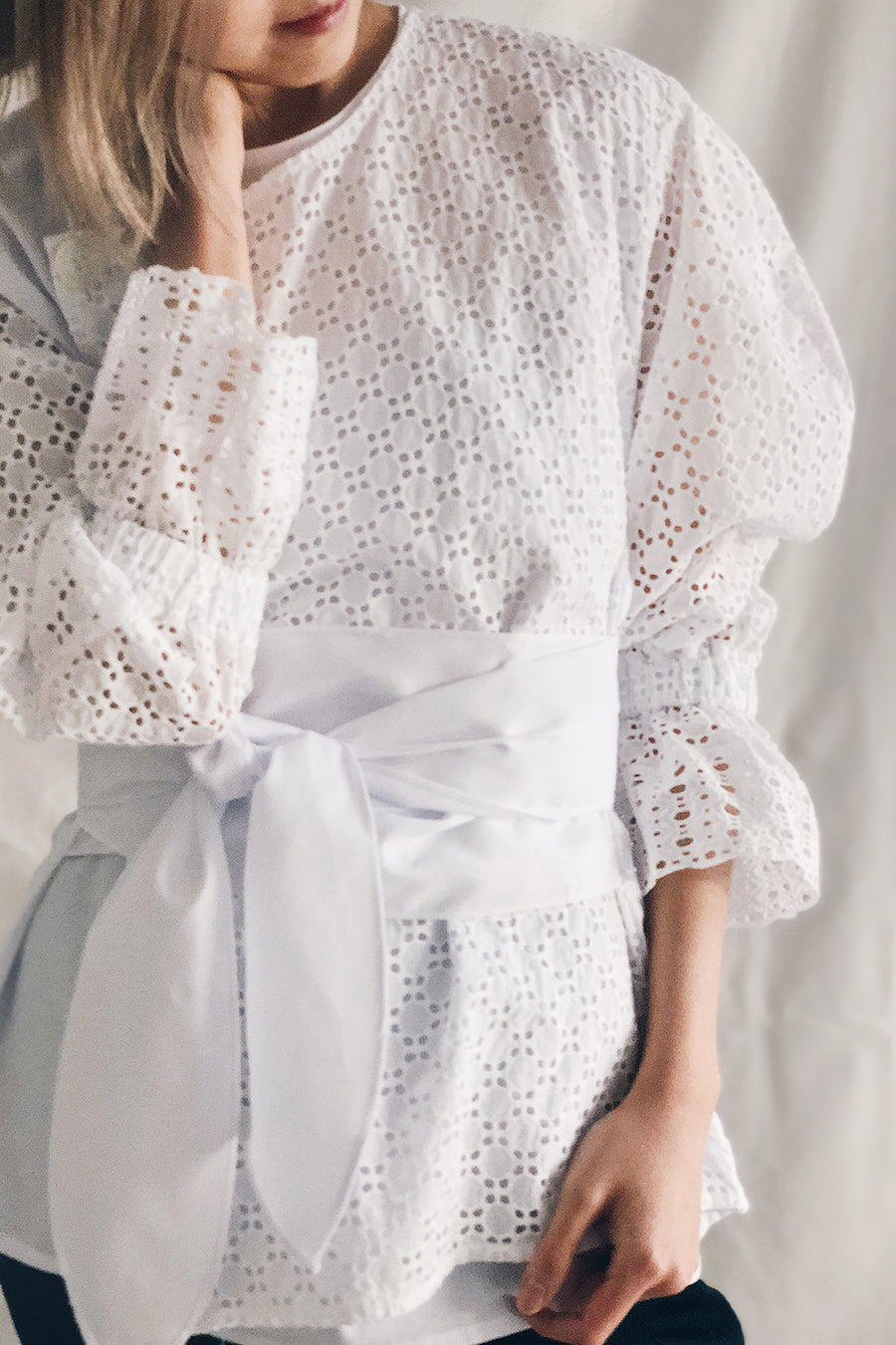 Eyelet Puff Sleeve Tie Waist Button Trench Top | White