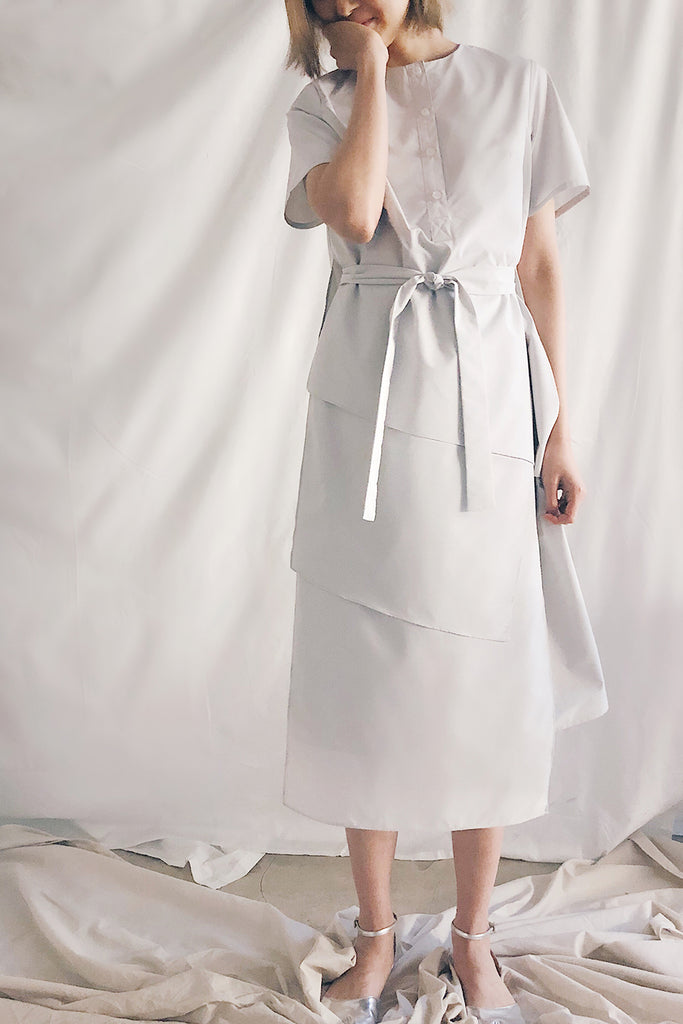 Button Up Multilayer Belted Midi | Grey