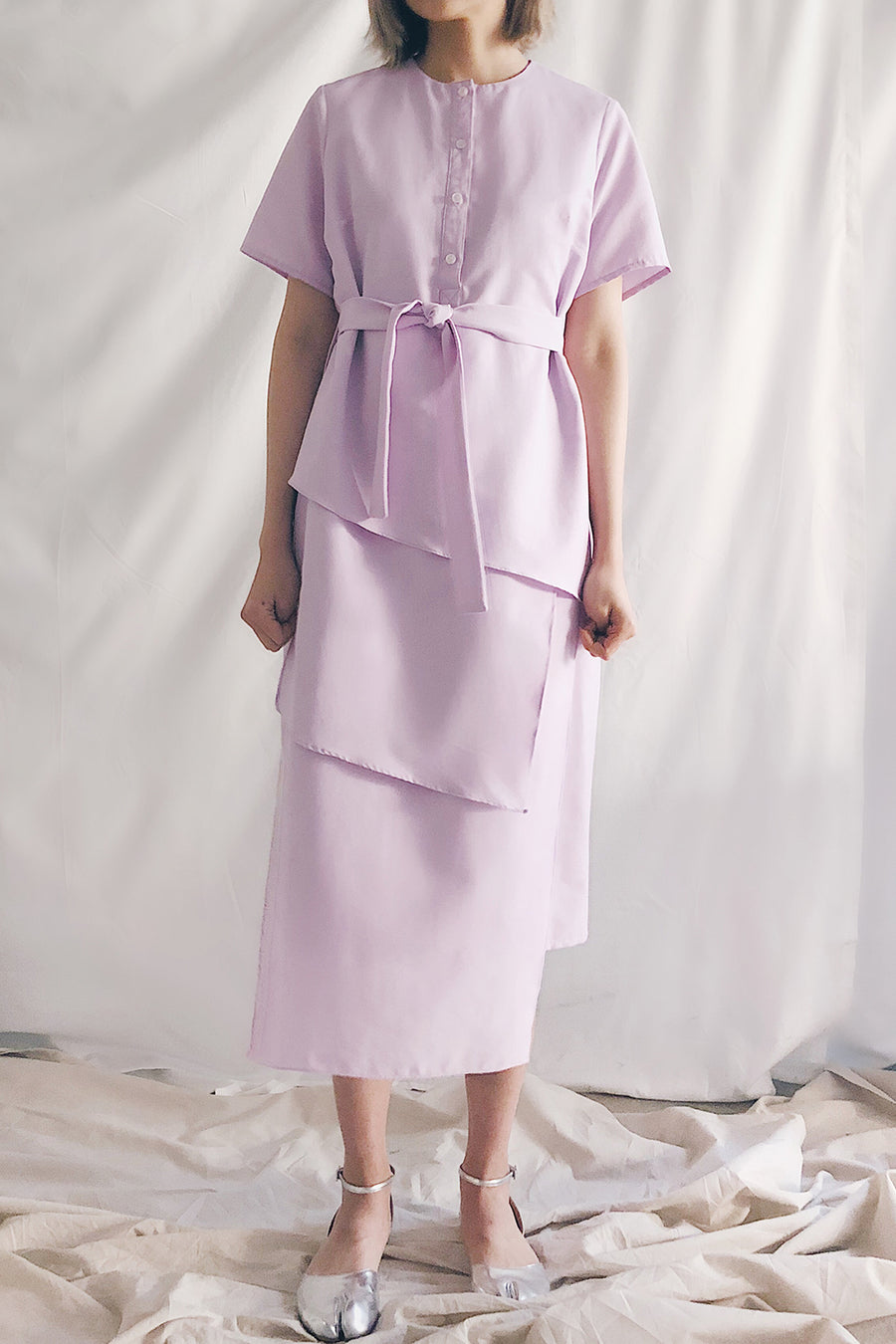 Button Up Multilayer Belted Midi | Lilac