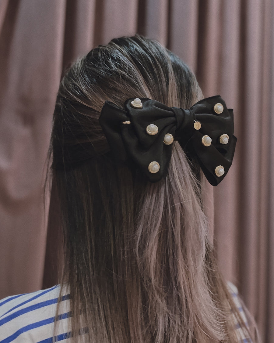 Avery Embellished Black Satin Bow Barrette Hair Clip