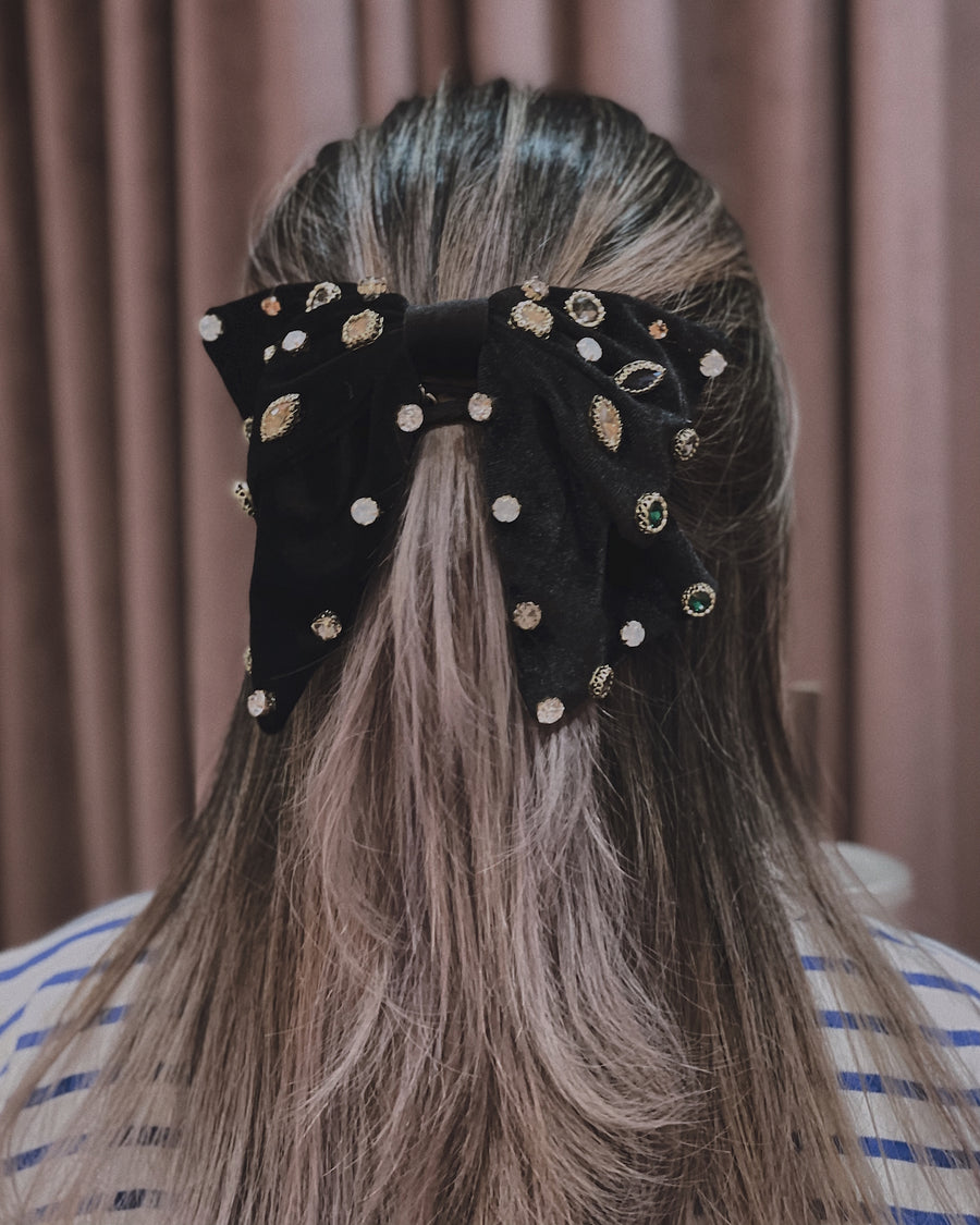 Brooklyn Embellished Velvet Soft Oversized Bow Barrette Hair Clip