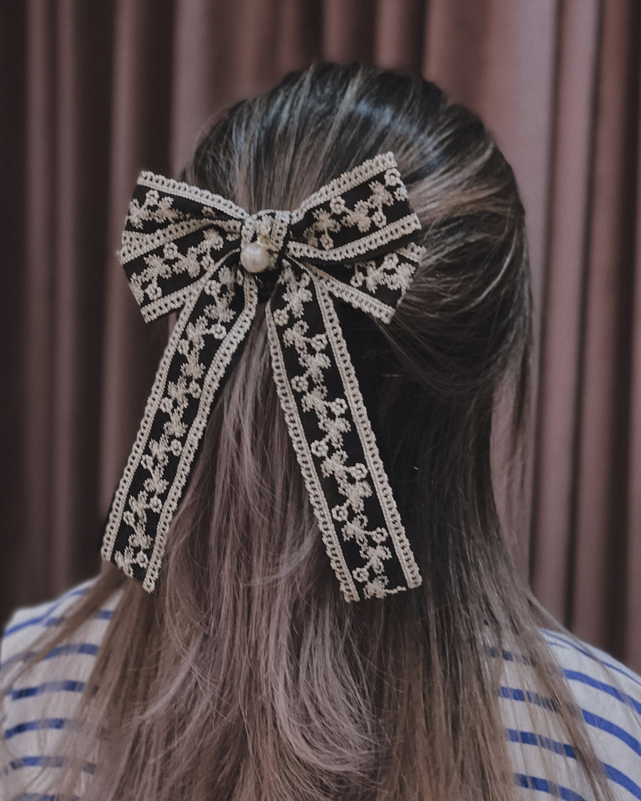 Emily Embellished Lace Double Bow Barrette Hair Clip