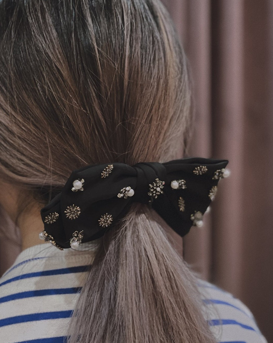 Gabriella Black Embellished Satin  Bow Barrette Hair Clip
