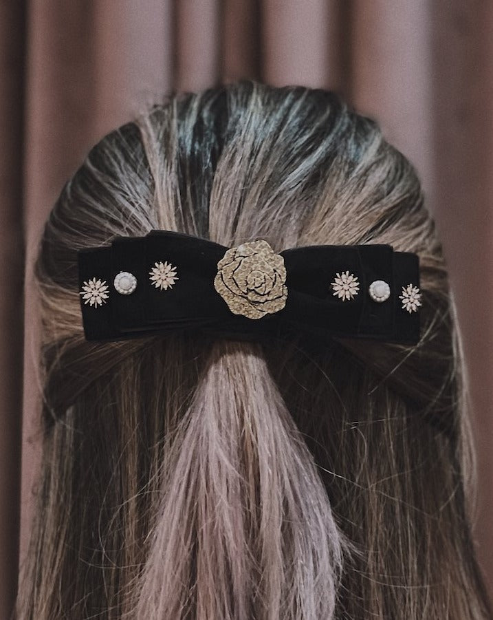 Charlotte Embellished Black Velvet Double Bow Barrette Hair Clip