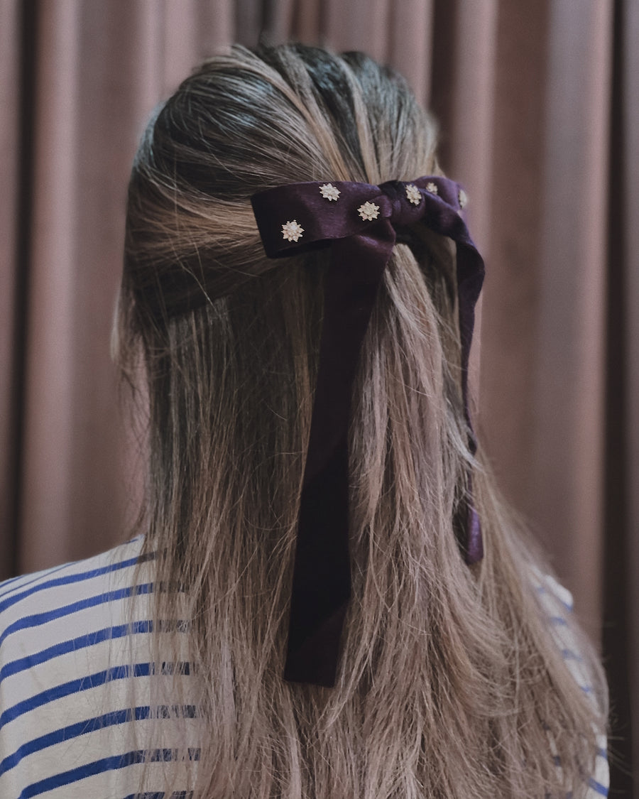 Ruby Embellished Indigo Velvet  Bow Barrette Hair Clip