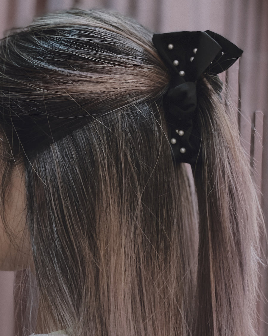 Juliette Black Embellished Satin Pearl Bow Hair Clip