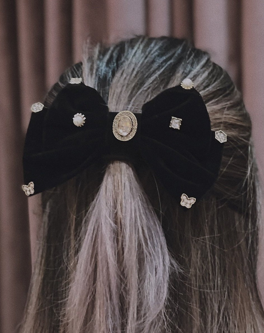 Sophia Embellished Black Velvet Double Bow Barrette Hair Clip