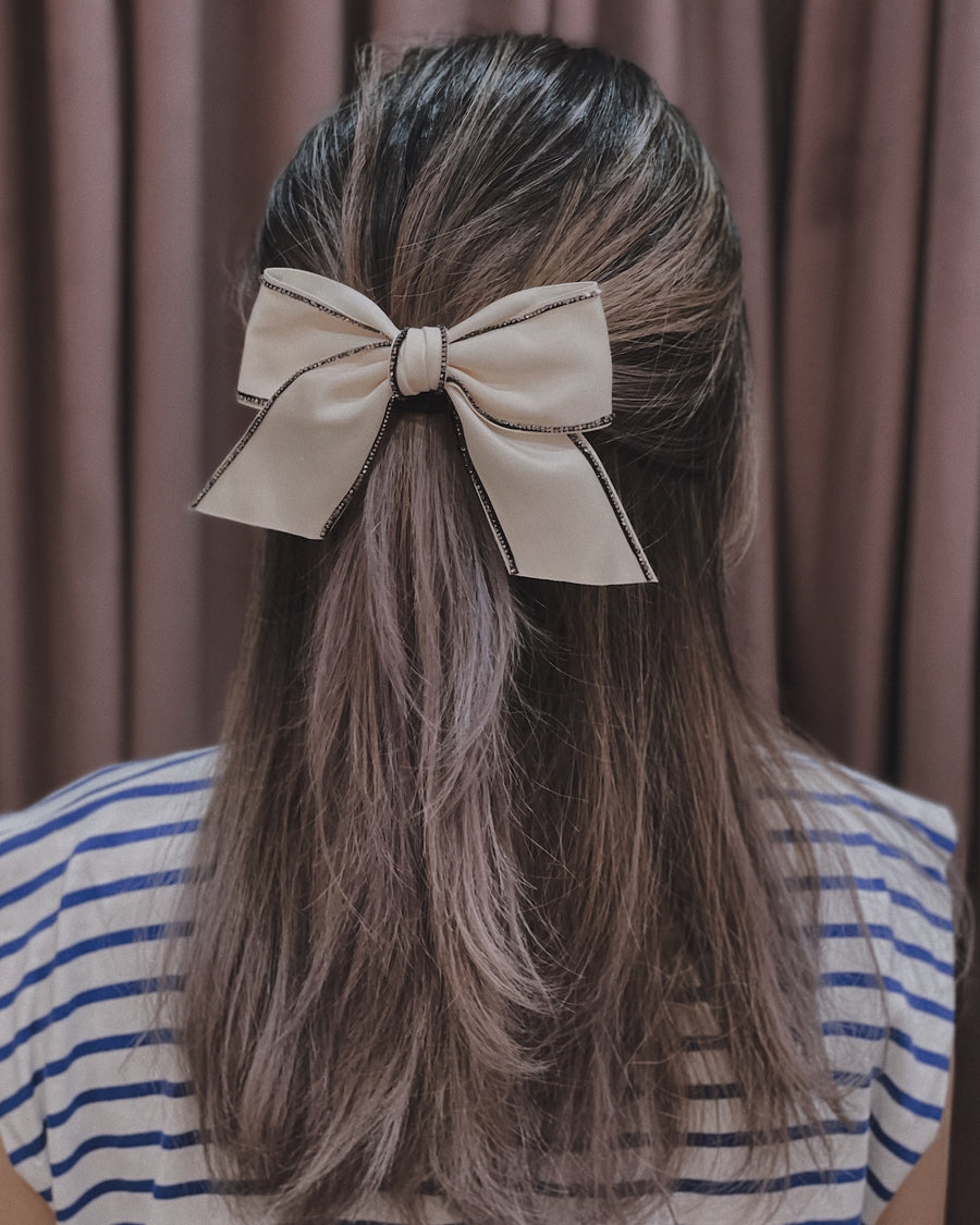 Chloe Embellished White Satin Bow Barrette Hair Clip