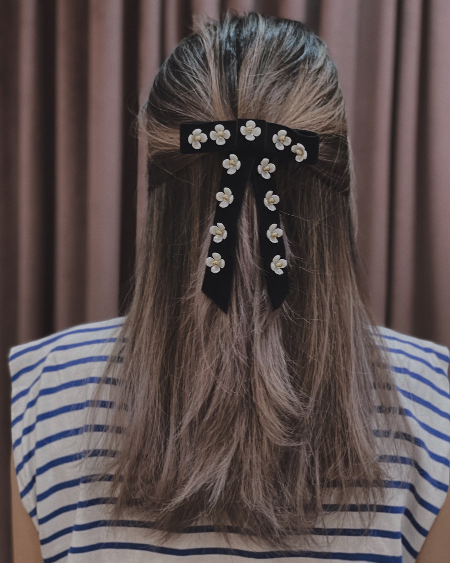 Kate Embellished Floral Pearl Black Velvet Bow Barrette Hair Clip