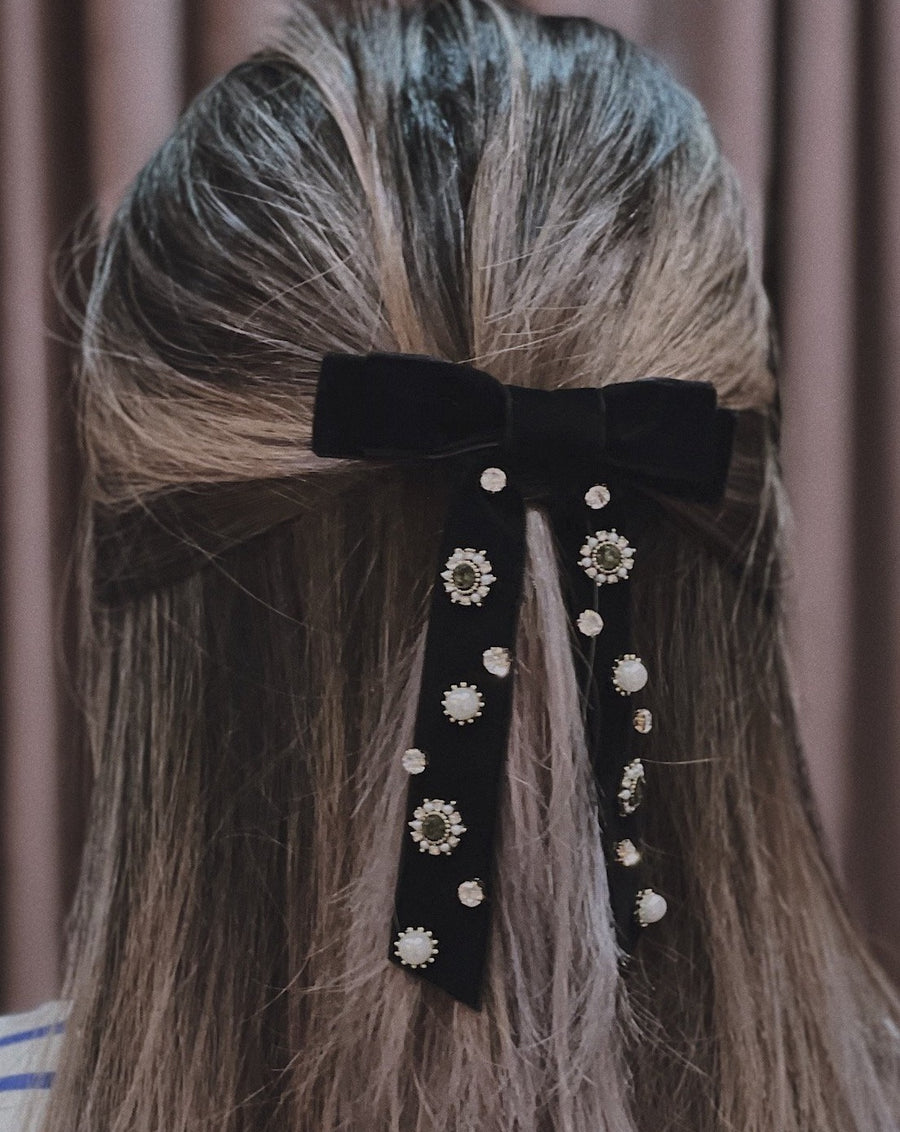 Gracie Embellished Black Velvet Double Bow Barrette Hair Clip